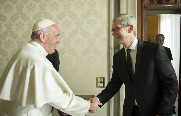 Pope Francis greets Apple CEO Tim Cook during a private audience in the Apostolic Palace at the Vatican Jan. 22. (CNS photo/L'Osservatore Romano, handout)