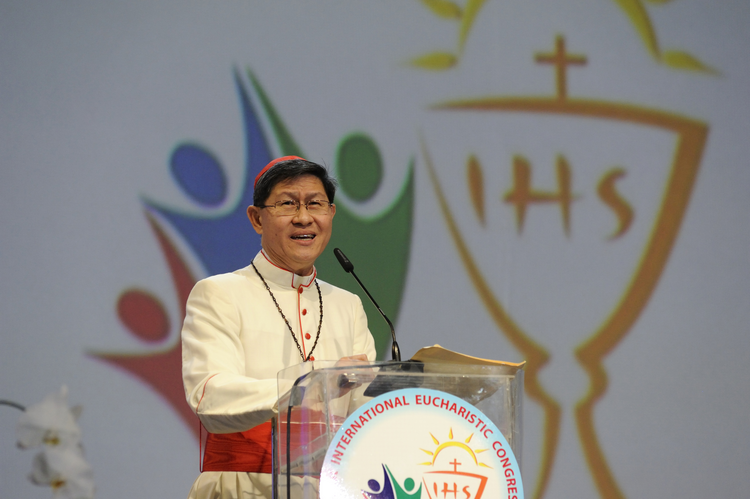Cardinal Luis Antonio Tagle of Manila speaks at a session of the 51st International Eucharistic Congress in Cebu, Philippines, on Jan. 28. (CNS photo/Katarzyna Artymiak)