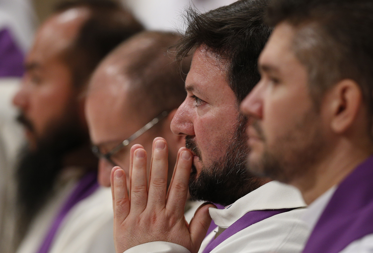 Priests who are Missionaries of Mercy for the Holy Year attend Pope Francis' celebration of Ash Wednesday Mass in St. Peter's Basilica at the Vatican Feb. 10. (CNS photo/Paul Haring)