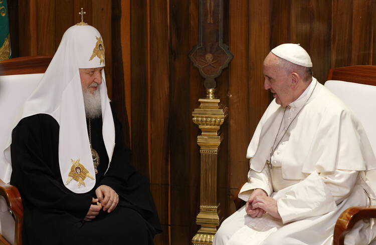 Russian Orthodox Patriarch Kirill of Moscow and Pope Francis meet at Jose Marti International Airport in Havana Feb. 12. The pope was traveling to Mexico for a six-day pastoral visit. (CNS photo/Paul Haring)