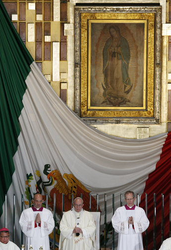 The original image of Our Lady of Guadalupe is seen as Pope Francis celebrates Mass in the Basilica of Our Lady of Guadalupe in Mexico City Feb. 13. (CNS photo/Paul Haring)