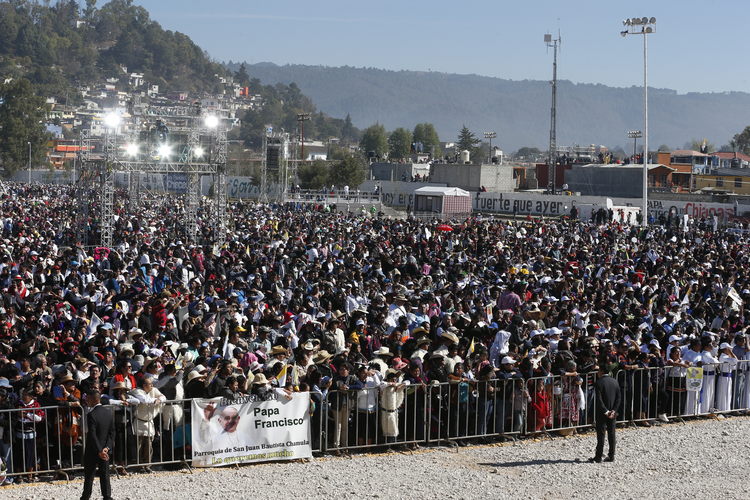 People attend Pope Francis' celebration of Mass with the indigenous community from Chiapas in San Cristobal de Las Casas, Mexico, Feb. 15. (CNS photo/Paul Haring)