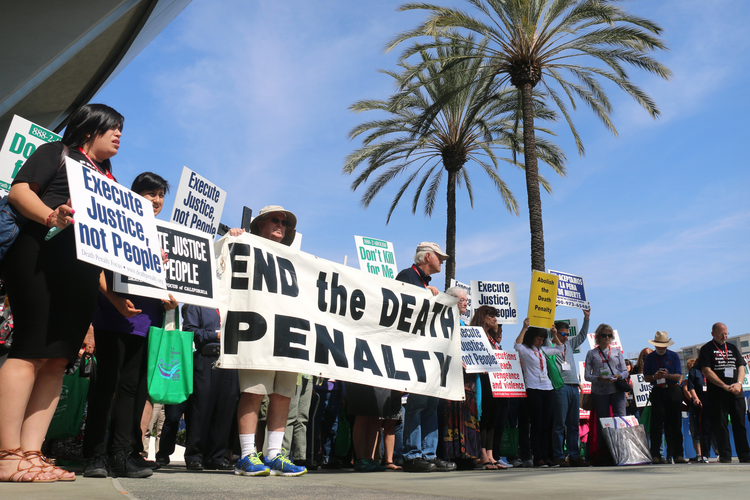 People gather in Anaheim, Calif., for a demonstration against the death penalty Feb. 27 as part of the Los Angeles Religious Education Congress. (CNS photo/J.D. Long-Garcia, The Tidings)