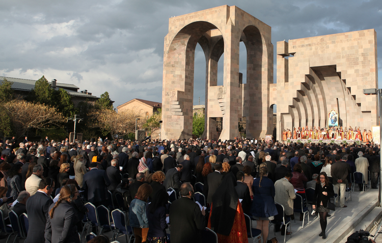 People attend a canonization ceremony for the victims of the Armenian Genocide at the Mother See of Holy Etchmiadzin complex near Yerevan, Armenia. (CNS photo/Vahram Baghdasaryan, EPA)
