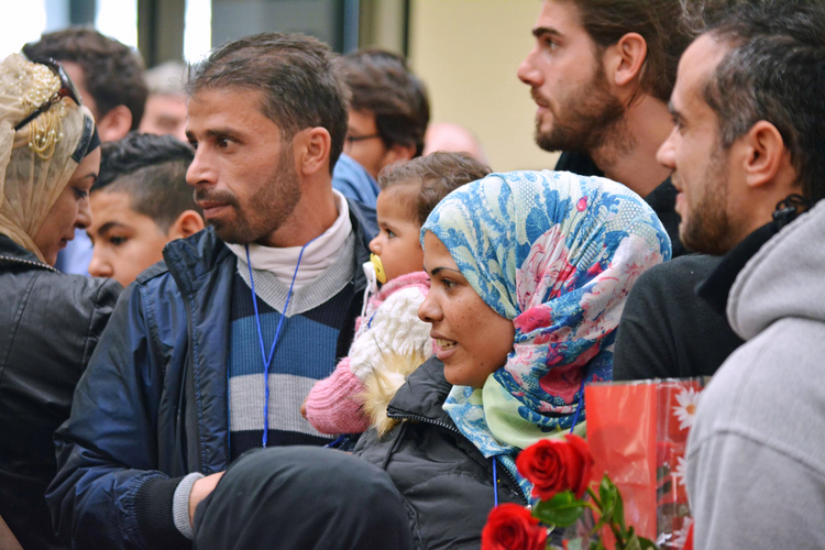 Syrian refugees are seen at Fiumicino Airport in Rome Feb. 29. (CNS photo/EPA)