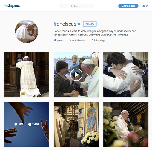 "Pope Francis joined photo-sharing site Instagram March 19 using the account ""Franciscus."" As of April 1 the pope had more than 2 million followers. This is a screen capture of his page. (CNS photo)"