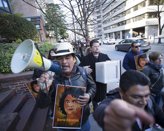 Activists march to the Inter-American Commission on Human Rights in Washington, D.C., in April 2016, calling for an independent investigation of the murder of environmental and indigenous rights activist Berta Cáceres. (CNS photo/Tyler Orsburn)