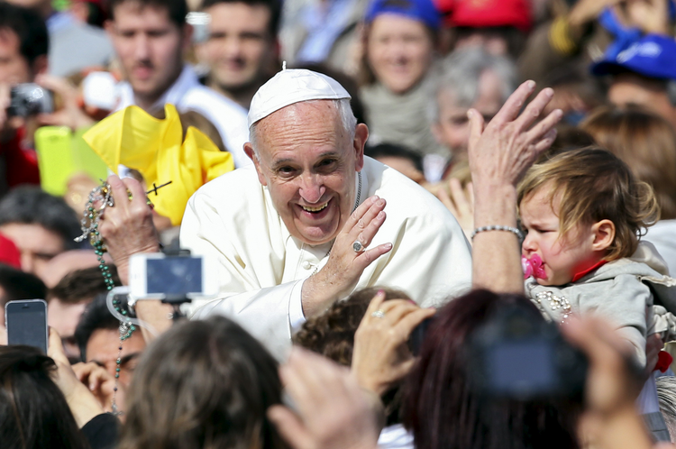 Pope Francis waves as he arrives at a Jubilee audience in St. Peter's Square at the Vatican April 9. (CNS photo/Alessandro Bianchi, Reuters)