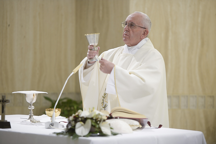 Pope Francis raises the Eucharist as he celebrates morning Mass in the chapel of the Domus Sanctae Marthae at the Vatican April 11. (CNS photo/L'Osservatore Romano, handout)