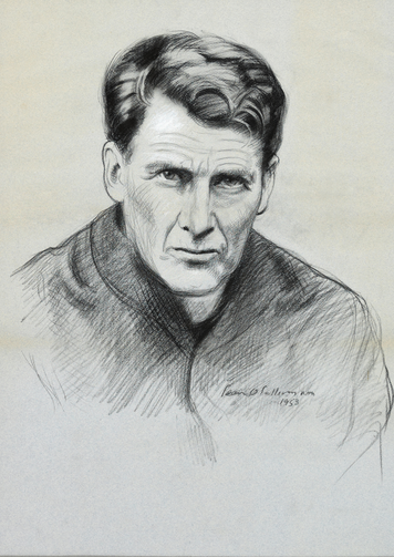 Jesuit Father John Sullivan is seen in this drawing by Irish portrait artist Sean O'Sullivan. (CNS photo/courtesy Irish Jesuit Communications)