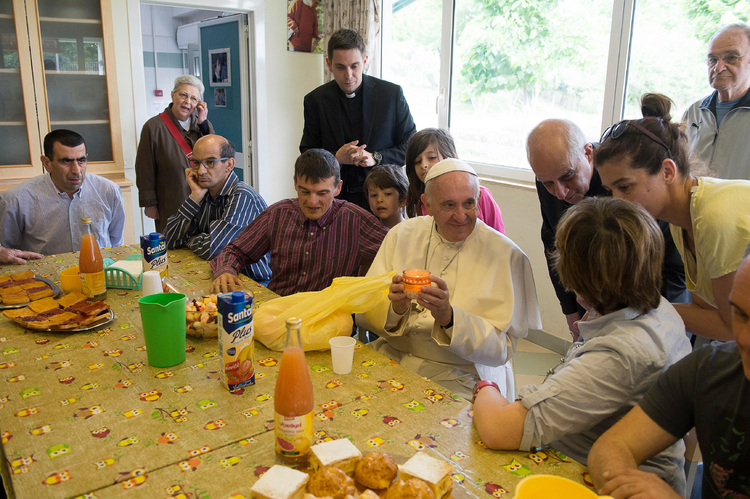 Pope Francis visits a L'Arche community in Ciampino, Italy, on May 13, 2016. (CNS photo/L'Osservatore Romano)