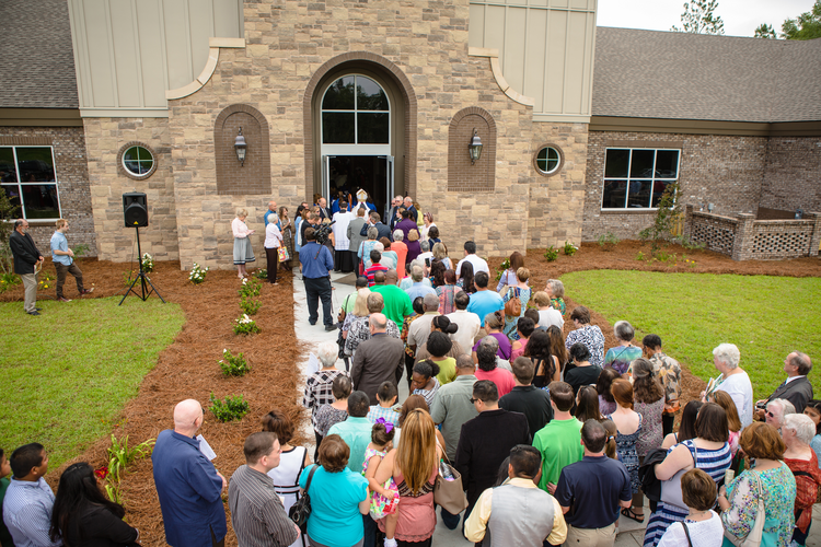 Parishioners of St. Anthony of Padua, in Ray City, Ga., enter their new church at its dedication on May 21, 2016. (CNS photo/Rich Kalonick, Catholic Extension)