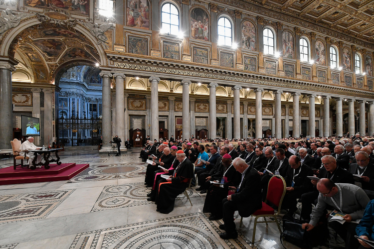 Pope Francis delivers a talk during a retreat for priests at the Basilica of St. Mary Major in Rome June 2. (CNS photo/L'Osservatore Romano, handout)