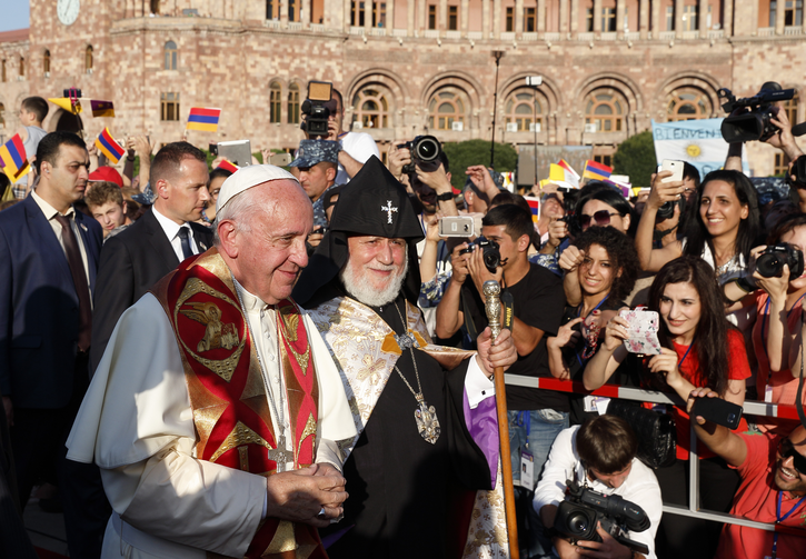 Pope Francis and Catholicos Karekin II, patriarch of the Armenian Apostolic Church, arrive for an ecumenical meeting and prayer for peace in Republic Square in Yerevan, Armenia, June 25. (CNS photo/Paul Haring)