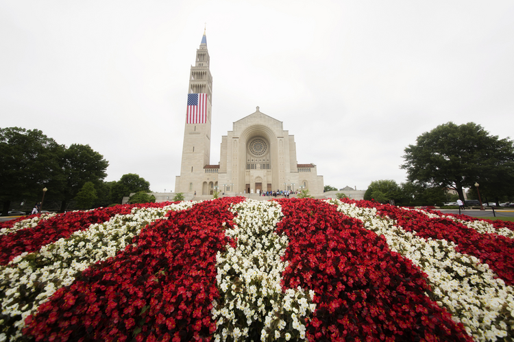 The Basilica of the National Shrine of the Immaculate Conception in Washington is seen July 4 prior to the closing Mass of the Fortnight for Freedom. (CNS photo/Jaclyn Lippelmann, Catholic Standard)