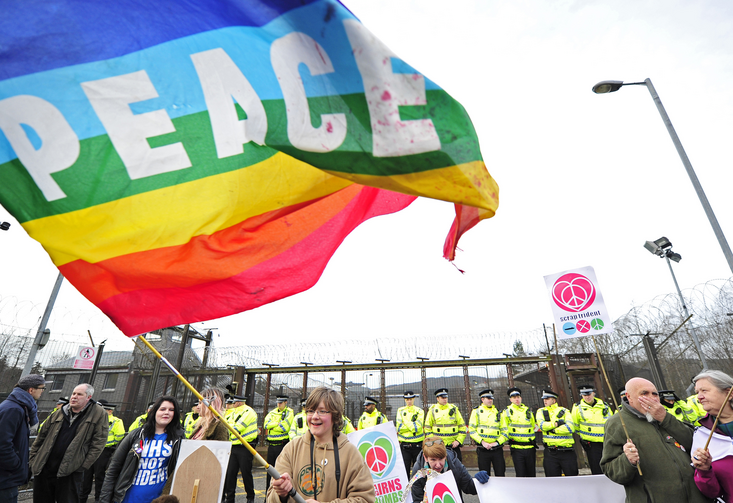 Protesters stage a sit-in at Faslane Naval Base in Helensburgh, Scotland, on April 13, 2015. (CNS photo/Joey Kelly, EPA)