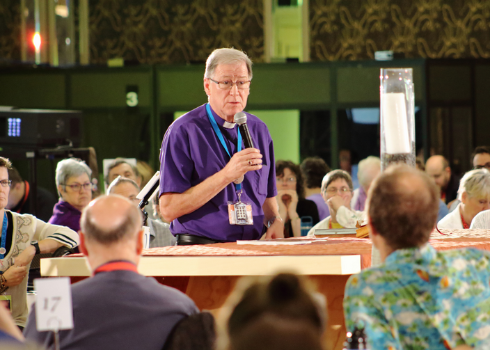 Archbishop Fred Hiltz, primate of the Anglican Church of Canada, warns against bullying in Toronto before the vote on same-sex marriage on July 11. (CNS photo/Francois Gloutnay, Presence)