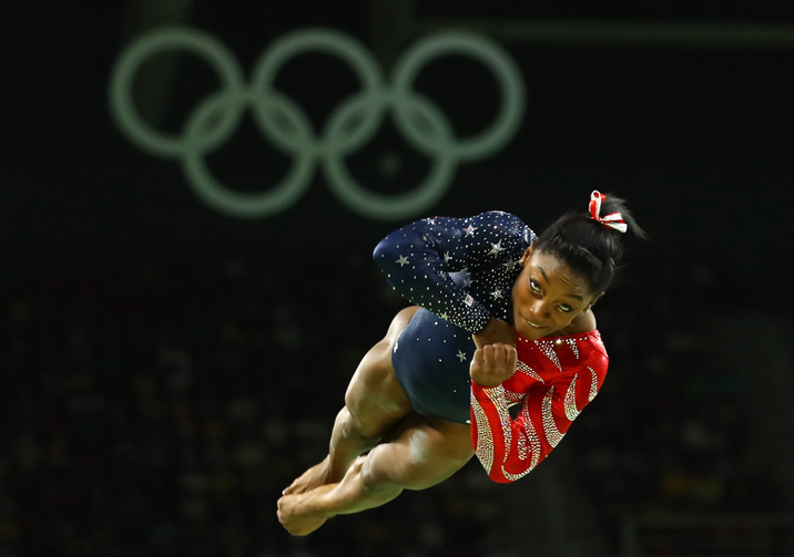 U.S. gymnast Simone Biles, a Catholic, competes on the floor exercise during the Summer Olympics in Rio de Janeiro Aug. 7. (CNS photo/Mike Blake, Reuters)