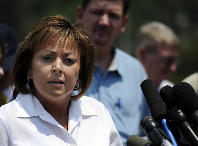 New Mexico Gov. Susana Martinez is seen in Los Alamos, N.M., in this 2011 file photo. New Mexico's Catholic bishops renounce her call to reinstate the death penalty.