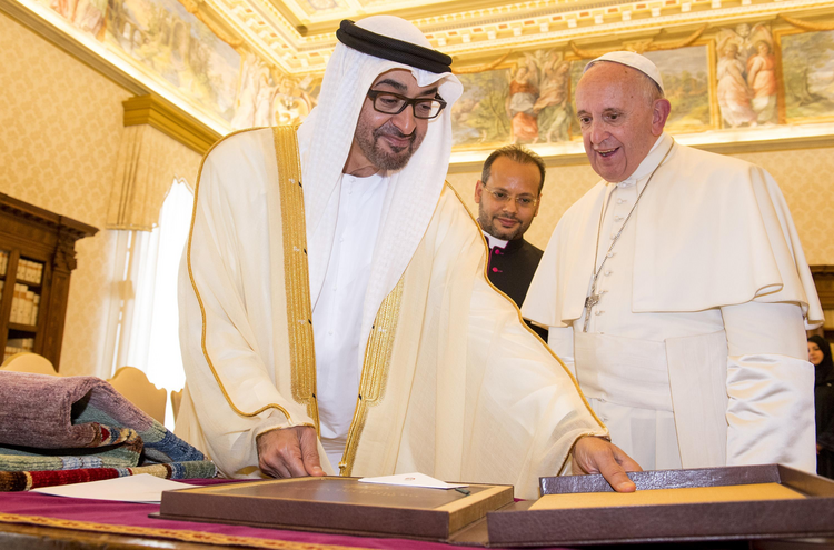 Image: Pope Francis exchanges gifts with Mohammed bin Zayed bin Sultan Al-Nahyan, crown prince of Abu Dhabi and deputy supreme commander of the United Arab Emirates armed forces, during a Sept. 15 private audience at the Vatican. (CNS photo/Clausio Peri, EPA)