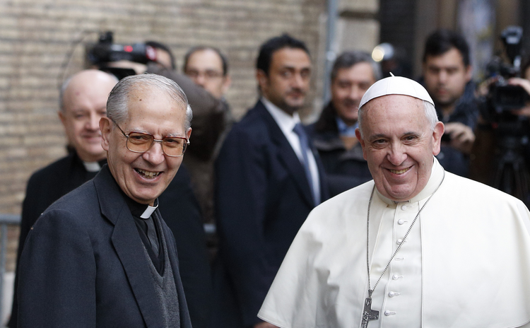 Father Adolfo Nicolas, superior general of the Society of Jesus, and Pope Francis, meet before celebrating Mass at the Church of the Gesu in Rome in this Jan. 3, 2014, file photo. (CNS photo/Paul Haring)