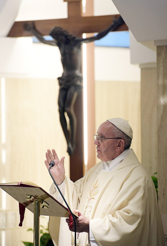 Pope Francis delivers his homily during Mass Sept. 27 in the chapel of the Domus Sanctae Marthae at the Vatican. Don't respond to grief or anguish with pills, alcohol or avoidance, Pope Francis said. (CNS photo/L'Osservatore Romano handout via EPA)