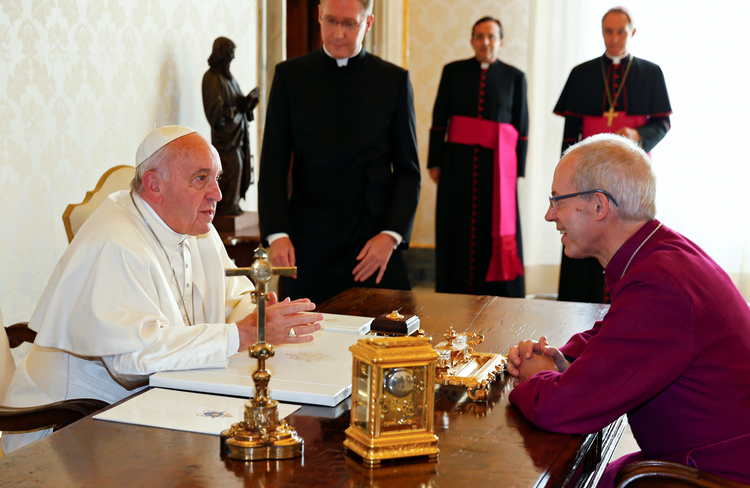 Pope Francis meets Anglican Archbishop Justin Welby of Canterbury, England, spiritual leader of the Anglican Communion, at the Vatican Oct. 6. (CNS photo/Tony Gentile, Reuters)
