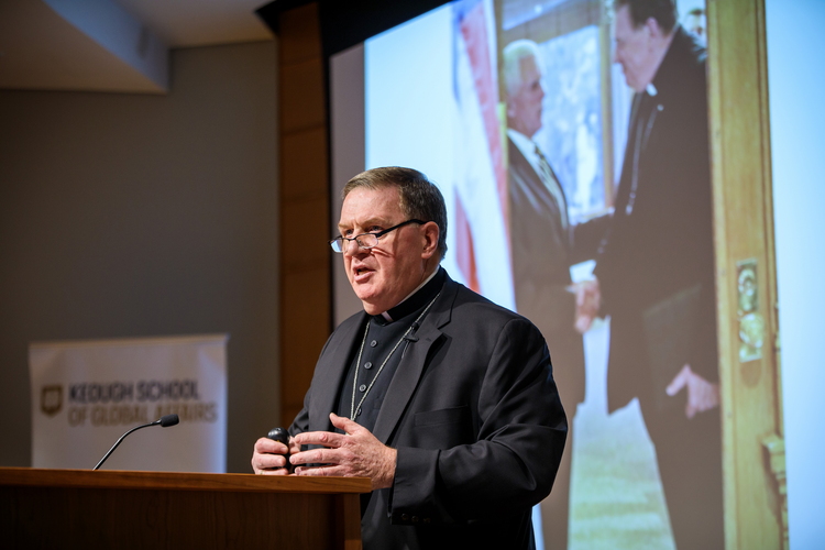 Cardinal-designate Joseph W. Tobin of Indianapolis speaks Oct. 14 at the University of Notre Dame. He discussed the history and current state of refugee resettlement in the United States. (CNS photo/Peter Ringenberg, University of Notre Dame)