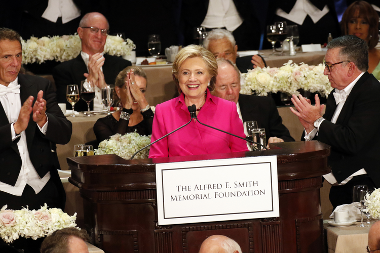 Hillary Clinton speaks at last October's Alfred E. Smith Memorial Foundation Dinner in New York. (CNS photo/Gregory A. Shemitz)