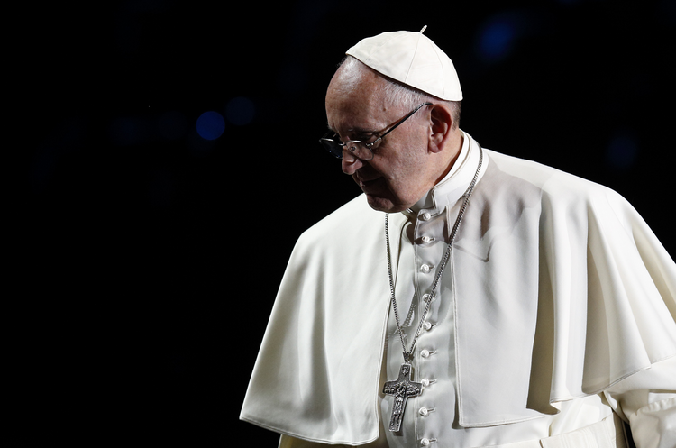 Pope Francis attends an ecumenical event at the Malmo Arena in Malmo, Sweden, Oct. 31. (CNS photo/Paul Haring)