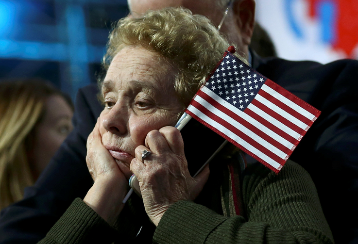 An election night rally in New York City Nov. 8. (CNS photo/Carlos Barria, Reuters)