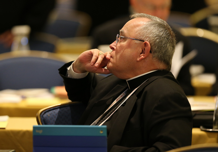 Archbishop Charles J. Chaput of Philadelphia listens Nov. 14 during the annual fall general assembly of the U.S. Conference of Catholic Bishops in Baltimore. (CNS photo/Bob Roller)
