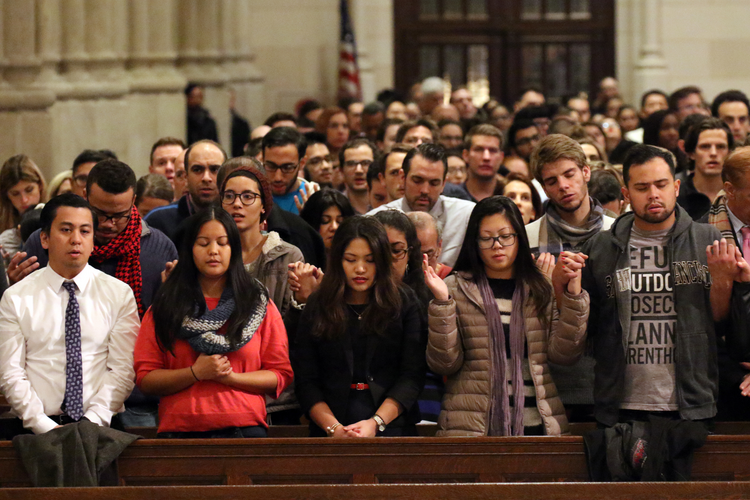 A Mass for young adults on Dec. 7, 2016, at St. Patrick's Cathedral in New York City. (CNS photo/Gregory A. Shemitz)