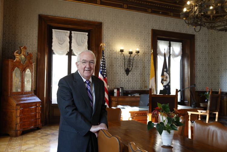 Ken Hackett, U.S. ambassador to the Holy See, is pictured in his office at the embassy in Rome Dec. 15. Hackett's last day as ambassador will be Jan. 20, when U.S. President-elect Donald J. Trump takes office. (CNS photo/Paul Haring)