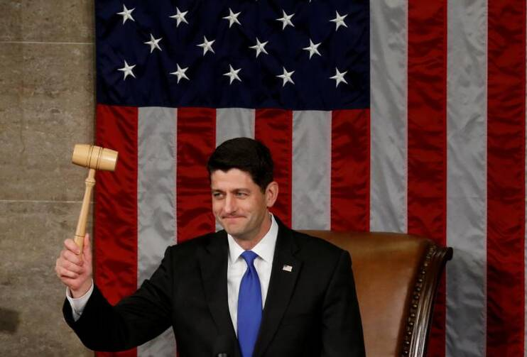 U.S. House Speaker Paul Ryan, R-Wis., raises the gavel during the opening session of the new Congress on Capitol Hill in Washington on Jan. 3. (CNS photo/Jonathan Ernst, Reuters)