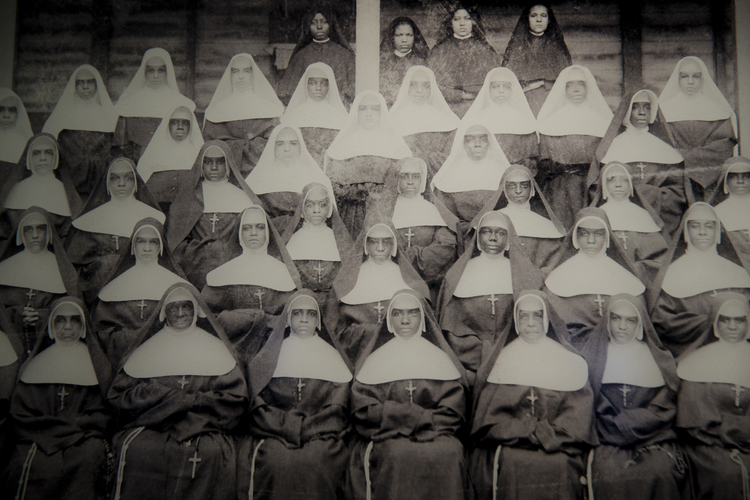 An undated photo of the Sisters of the Holy Family in New Orleans is seen at the National Museum of African American in Washington Jan. 5, 2017. February is African American history month. (CNS photo/Tyler Orsburn)