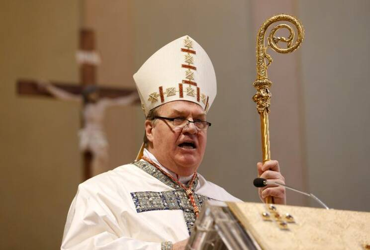 Cardinal Joseph W. Tobin of Newark, N.J., gives the homily during a Mass at which he took possession of his titular church of St. Mary of the Graces in Rome on Jan. 29. (CNS photo/Paul Haring)