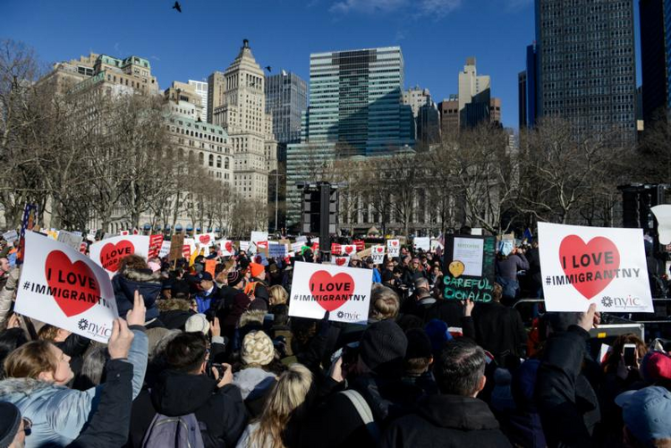 People in New York City participate in a Jan. 29 protest against President Donald Trump's travel ban. (CNS photo/Stephanie Keith, Reuters)