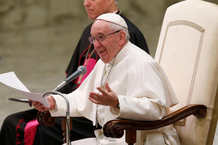 Pope Francis speaks during his general audience in Paul VI hall at the Vatican on Feb. 8. (CNS photo/Paul Haring)