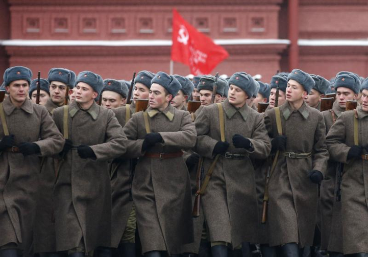 People in historical uniforms take part in the military parade in Moscow's Red Square in 2016. As preparations get underway for this year's 100th anniversary of the Russian Revolution, the country's small Catholic Church is keeping a low profile. (CNS photo/Maxim Shipenkov, EPA)