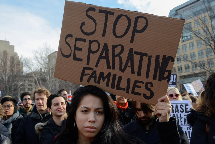 People participate in a protest on Feb. 11 against U.S. President Donald Trump's immigration policy and the recent Immigration and Customs Enforcement raids in New York City. (CNS photo/Stephanie Keith, Reuters)