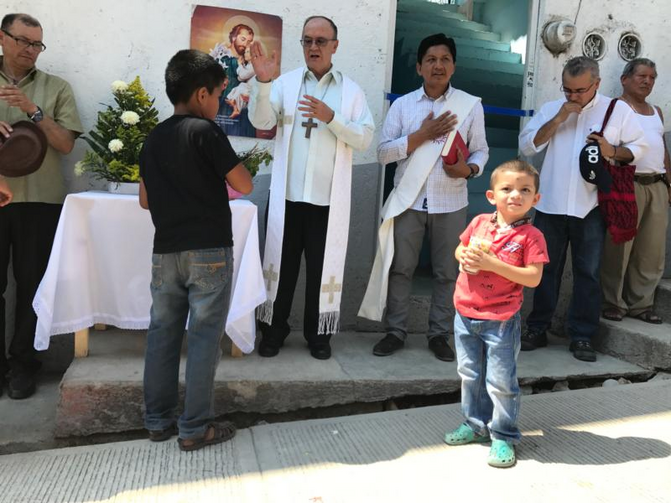 Mexican Coadjutor Bishop Enrique Diaz Diaz of San Cristobal de Las Casas blesses a new shelter for migrants Feb. 27 on the Mexico-Guatemala border. The shelter will house families seeking asylum in Mexico. (CNS photo/David Agren)