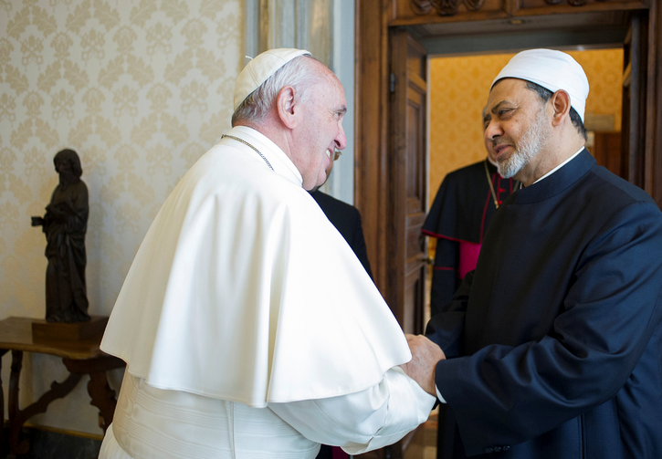 Pope Francis greets Ahmad el-Tayeb, grand imam of Egypt's al-Azhar mosque and university, during a private meeting in 2016 at the Vatican. (CNS photo/L'Osservatore Romano via Reuters)
