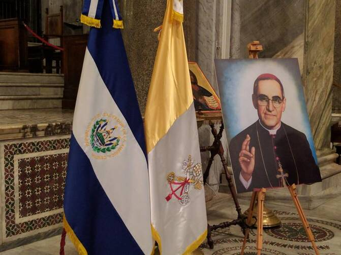 A portrait of Blessed Oscar Romero is displayed on March 23 in Rome's Basilica of Santa Maria in Trastevere. (CNS photo/Junno Arocho Esteves)