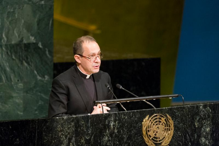 Msgr. Antoine Camilleri, Vatican undersecretary for relations with states, delivers a message from Pope Francis to a U.N. conference on nuclear weapons on March 27 in New York City. (CNS photo/Rick Bajornas, UN)
