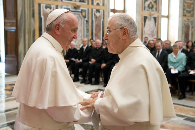 Pope Francis greets Norbertine Father Bernard Ardura, president of the Pontifical Committee for Historical Sciences, on March 31 at the Vatican. The pope met with scholars taking part in a Vatican-sponsored congress on the Lutheran Reformation as part of the 500th anniversary commemorating the start of Luther's call for reform. (CNS photo/L'Osservatore Romano)