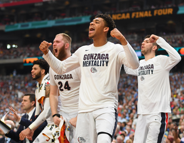 Gonzaga Bulldogs players celebrate from the bench in the second half against the South Carolina Gamecocks during the semifinals of the 2017 NCAA Men's Final Four on April 1 at the University of Phoenix Stadium in Glendale. (CNS photo/Bob Donnan-USA TODAY Sports via Reuters)