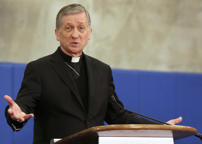 Cardinal Blase J. Cupich of Chicago at a press conference in Chicago on April 4. (CNS photo/Karen Callaway, Chicago Catholic)