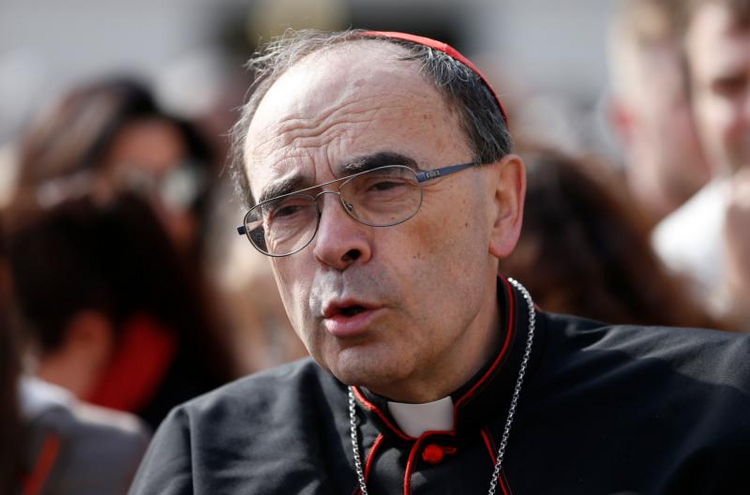 Cardinal Philippe Barbarin of Lyon, France, is pictured before the start of Pope Francis' general audience in St. Peter's Square at the Vatican on April 26. (CNS photo/Paul Haring)