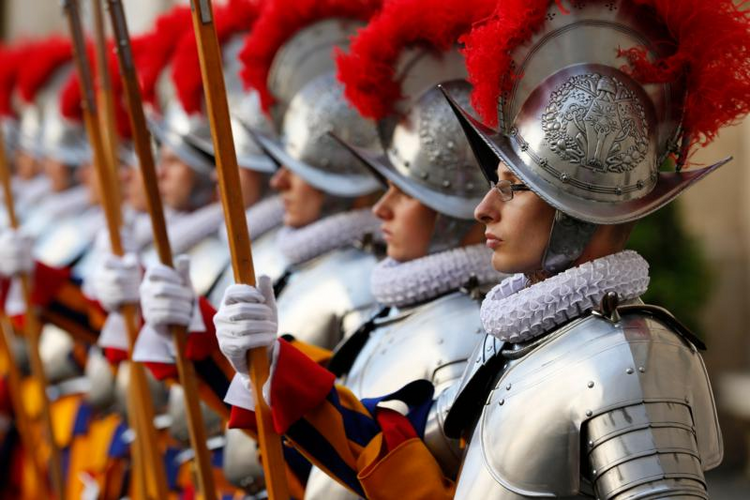 Swiss Guard recruits attend the swearing-in ceremony for 40 new recruits at the Vatican on May 6. (CNS photo/Paul Haring)